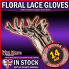 FANCY DRESS COSTUME GLOVES # FLORAL LACE BLACK